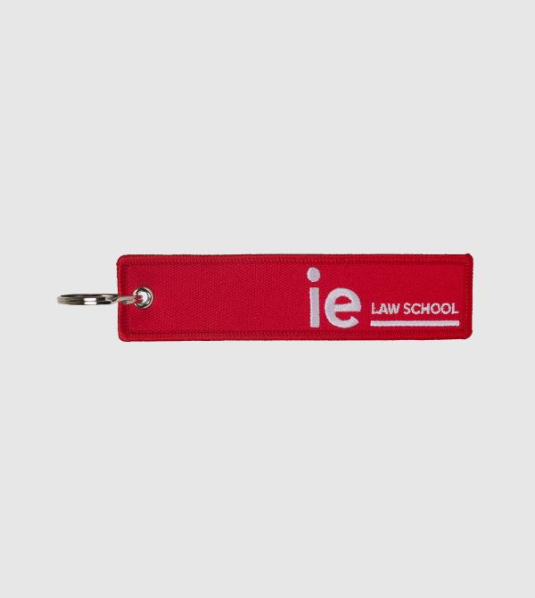 Llavero Bordado IE LAW. Color rojo front