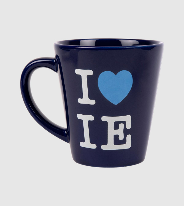 """I Love IE"" Blue Mug. Blue color front"