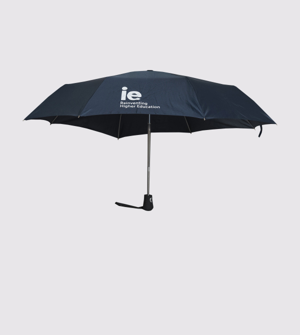 IE Compact Travel Umbrella. Navy color front