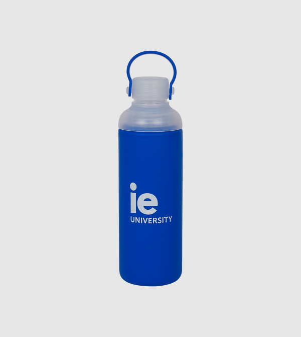 IE Glass Bottle. Blue color front