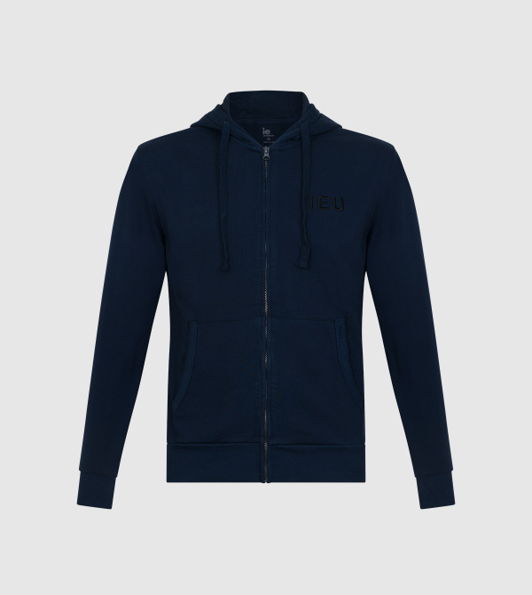 Amazona IE University Full-Zip Hoodie. Navy color front