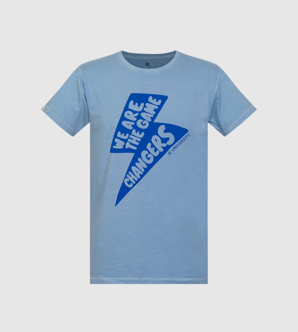 Lightning IE University T-shirt. Light blue color front