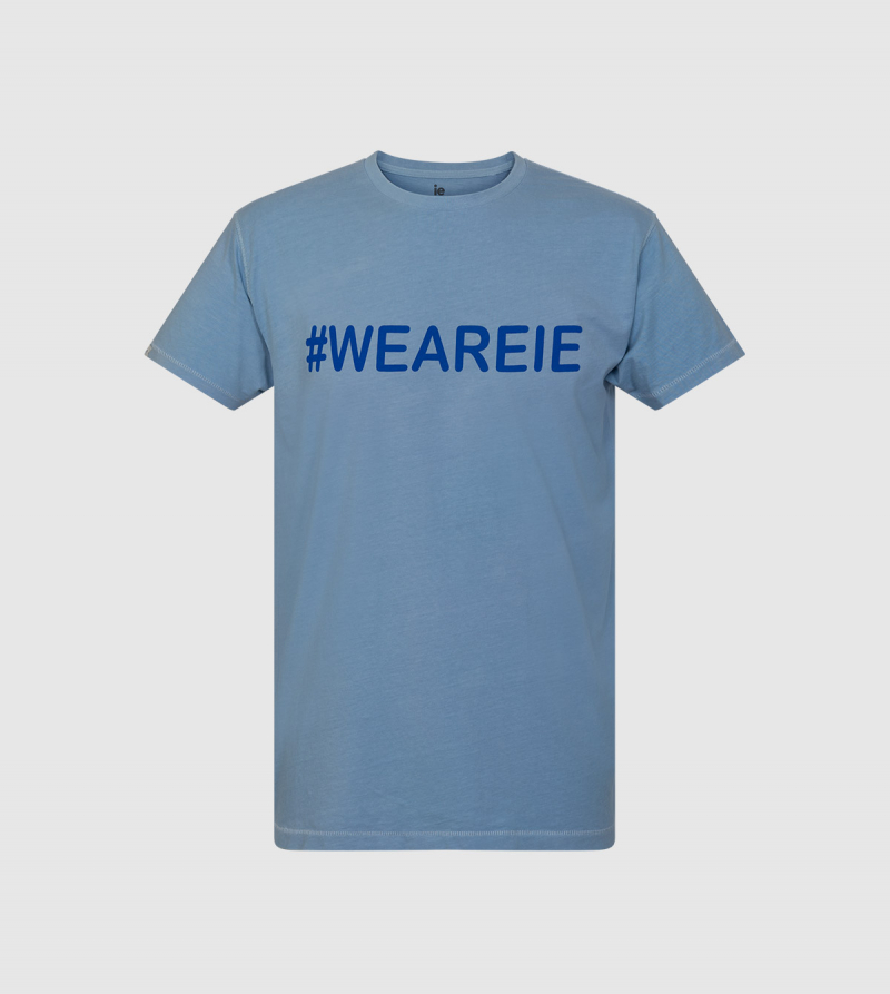 """We Are IE"" T-shirt . Light blue color front"