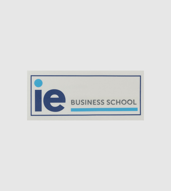 IE Business School Sticker. White color front