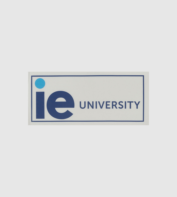 Pegatina IE University. Color blanco front